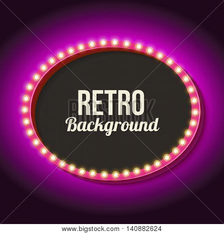 Vintage frame with volumetric lights. 3d retro oval with a neon light. Realistic shape with an empty black space for your text, events, soobeschniya, advertising. Violet light falls on the wall.