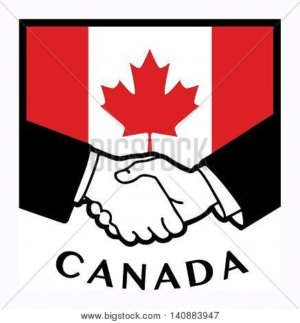 Canada flag and business handshake, vector illustration