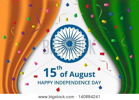 Happy Indian Independence Day celebration on curtain color of india flag and confetti greeting card