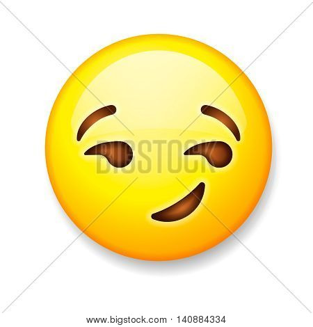 Emoji isolated on white background, emoticon smirking face, vector illustration.
