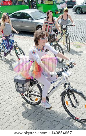 Kharkiv Ukraine - June 18 2016: Cyclists in carnival costumes in a themed bike ride
