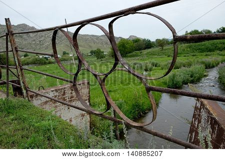 Metal Fencing Olympic Rings Bridge