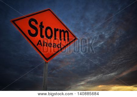 Storm warning road sign with storm background