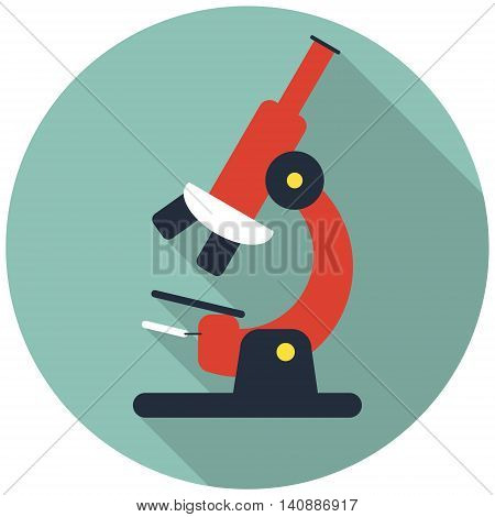 microscope with long shadow icon flat vecto illustration