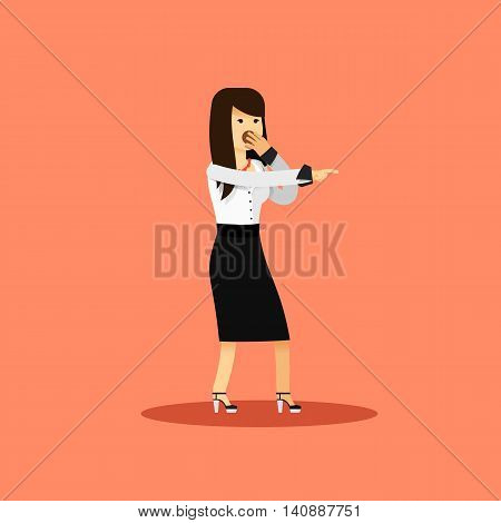 Business woman in black white costume vector illustration. Office staff, isolated character girl happy face, people success, manager and employee. Business concept in flat. Educational aspirations man