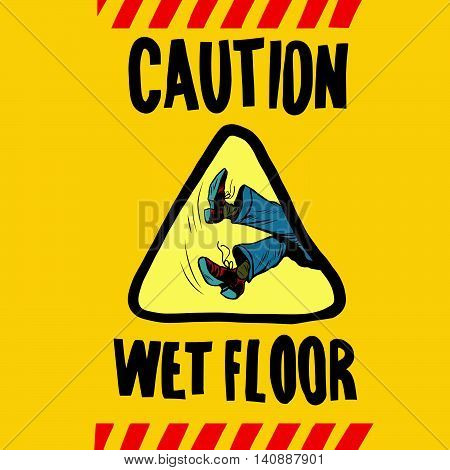 caution wet floor feet men, pop art retro vector illustration