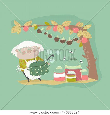 Cute grandma cooking jam. Vector cartoon illustration