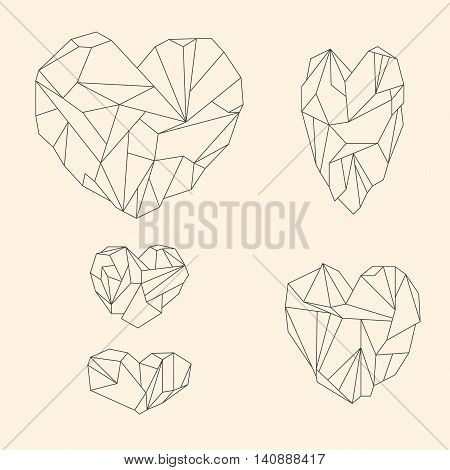 Set Of Mineral Heart-shaped Crystals On Beige Background
