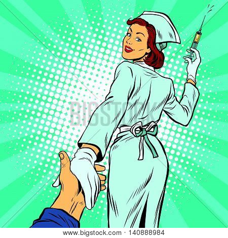 follow me, nurse injection vaccine medicine, pop art retro vector illustration. The doctor and health