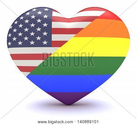 US flag with Gay Pride Rainbow Flag Heart 3d illustration