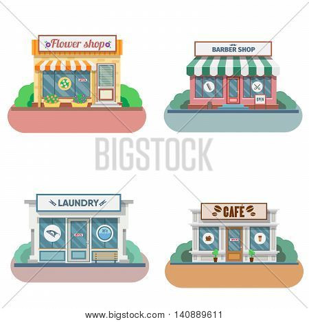 Set of vector flat design shops facade icons. Includes shop, newspaper, coffee shop, flower shop, laundry, barber. Vector Illustration.