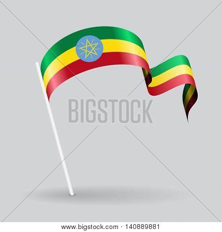 Ethiopian pin icon wavy flag. Vector illustration.