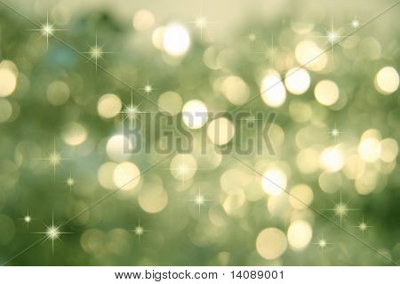 Abstract background of holiday lights/green