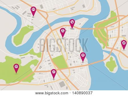 Vector flat abstract city map with pin pointers and infrastructure icons, horizontal map format