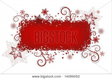 Red christmas background with snowflakes and swirls