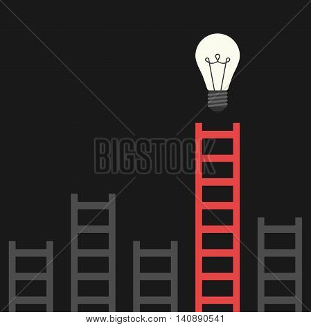 Red unique ladder and many gray ones leading to bright glowing light bulb on black background. Discovery idea success and insight concept. Flat design. Vector illustration. EPS 8 no transparency