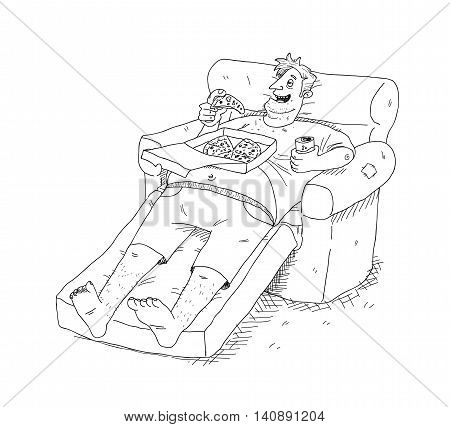 Obesity. A hand drawn vector cartoon illustration of a lazy fat guy sitting on a sofa, eating pizza and drinking soft drink.