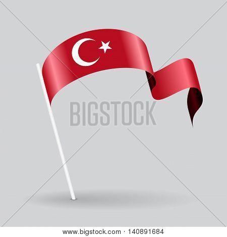 Turkish pin icon wavy flag. Vector illustration.