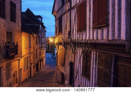 Old architecture of Auxerre. Auxerre Burgundy France