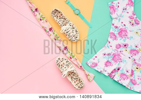 Fashion. Clothes Accessories fashion Summer Set. Stylish woman dress, accessories, Glamor Trendy Wrist Watches, Luxury Gumshoes. Summer fashion girl Outfit, accessories. Essentials, fashion Overhead