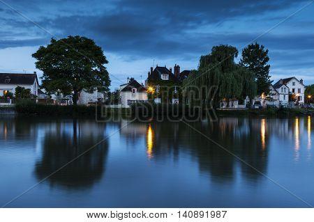 Auxerre along Yonne River. Auxerre Burgundy France
