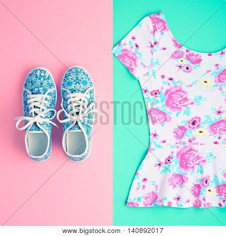 Fashion. Clothes Accessories fashion Set. Stylish woman dress and Glamor Trendy gumshoes. Summer fashion girl Outfit, accessories. Hipster Essentials, Overhead, Top view. Fashion hipster.Minimal style