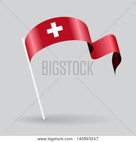 Swiss pin icon wavy flag. Vector illustration.
