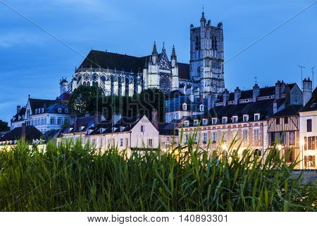 Auxerre Cathedral across Yonne River. Auxerre Burgundy France