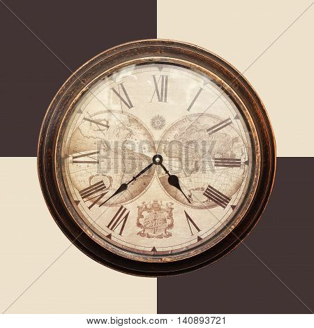 Clock - Vintage mechanical wall clock on checkered chessboard background.