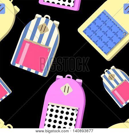Back to school seamless vector pattern. City backpack illustration on black background. Student bag textile print. Stripe, polka dot and scarlet ornament backpack for children. Hipster backpack image