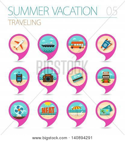 Traveling vector pin map icon set. Summer time Map pointer. Map markers. Vacation eps 10