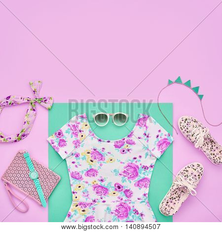 Fashion. Clothes Accessories fashion Set. Trendy Wrist Watches, Stylish woman dress, Summer accessories, Glamor Sunglasses, Gumshoes. Summer fashion girl Outfit, accessories. Fashion summer Overhead