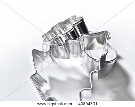 Christmas cookie cutters, isolated on white baclground.