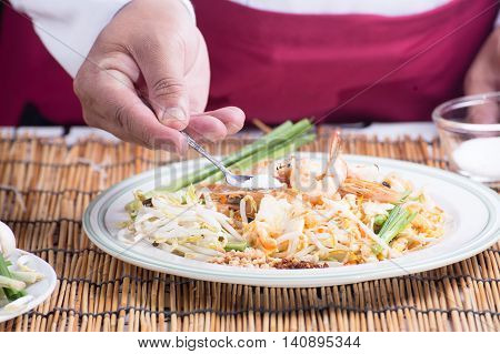 Chef decorated Pad Thai Menu with sugar / cooking Pad Thai concept