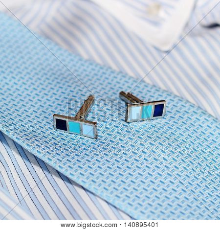 men's clothes and accessories - cufflinks and shirt