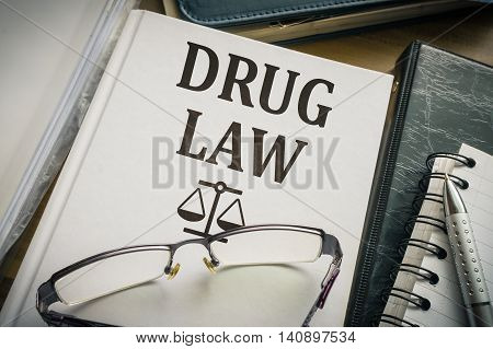 Drug Law Book. Legislation And Justice Concept.