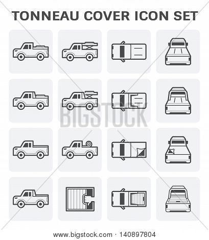 Tonneau cover and pickup truck vector icon set.