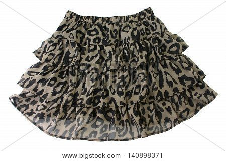 mini leopard skirt isolated on white background