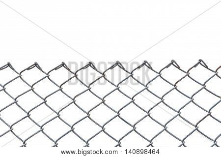 Old Metal Fence Isolated On White