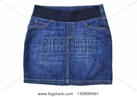 Blue sexy jeans skirt isolated on white background