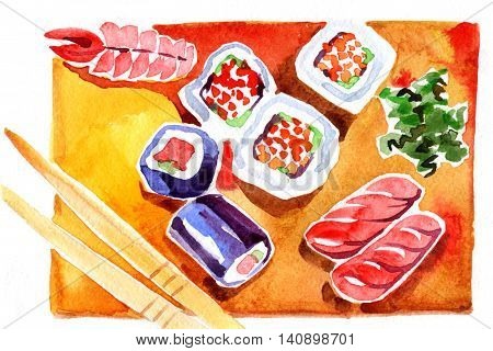 Watercolor sushi and roll with chopsticks on white background.