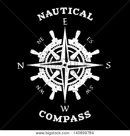 Steering wheel and compass. Marine navigation, symbol, logo on a dark background.
