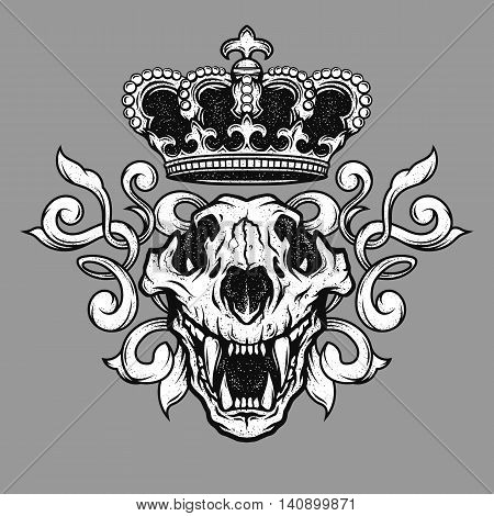 The crown and the lion skull. Heraldic emblem.