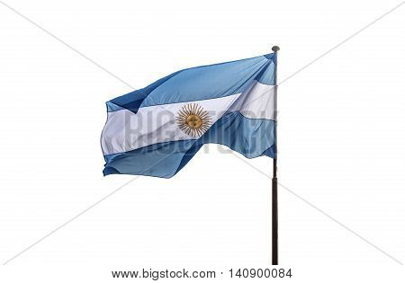 Argentina flag is fluttering on white background