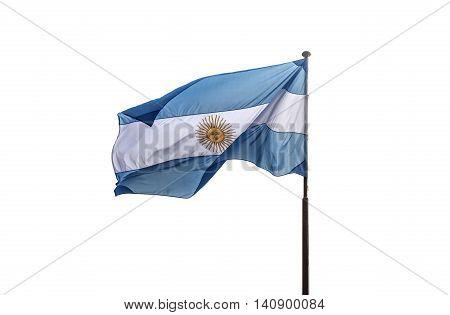 Argentina flag is fluttering on white background