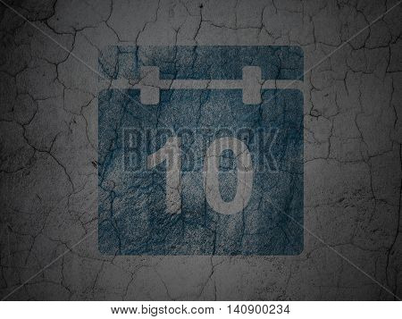Timeline concept: Blue Calendar on grunge textured concrete wall background
