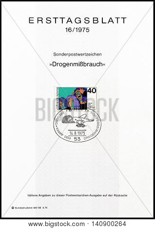 GERMANY - CIRCA 1975 : Cancelled First Day Sheet printed by Germany, that shows man on drugs.