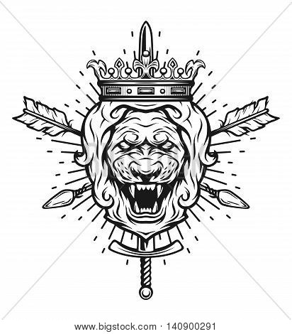 Vintage symbol of a lion head, a crown, sword and crossed arrows. Emblem, t-shirt graphic.