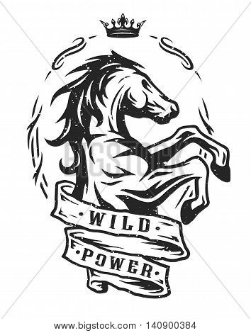 Wild horse and ribbon for text. Vintage emblem, t-shirt graphics.