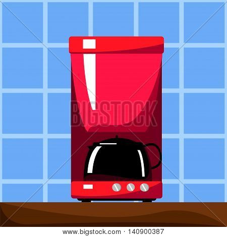 Red coffee machine with black pot. Vector illustration in flat style. Coffee boiler. Small house appliance. Kitchen machine. Breakfast hot drink cooking. Cartoon style square image for modern home